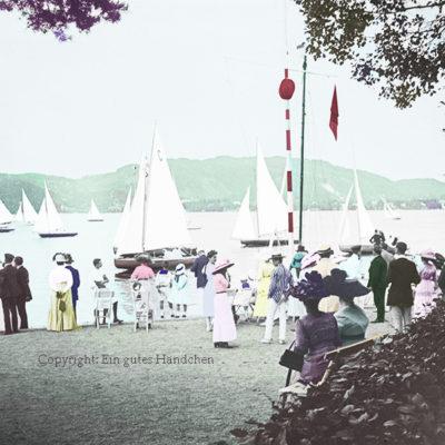 Villa Seehort Regattastart, Pörtschach, Wörthersee, Kärnten, elegante Gesellschaft am Seeufer, um 1915