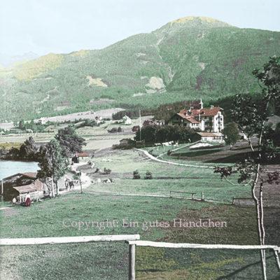 Lansersee, Tirol. Historische Aufnahme des Hotel Lansersee um 1915.