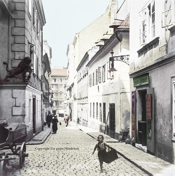 Der Spittelberg in Wien ist eine Gegend im 7. Wiener Gemeidnebezirk. Historische Aufnahme um 1915.
